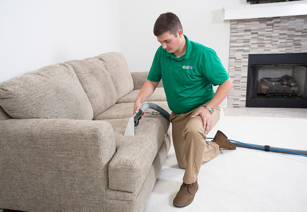 chem-dry tech performing upholstery cleaning in hickory